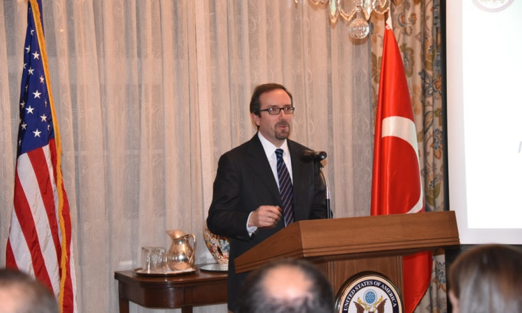 Ambassador John Bass hosted a networking event for Turkish entrepreneurs at his residence on November 29, 2016