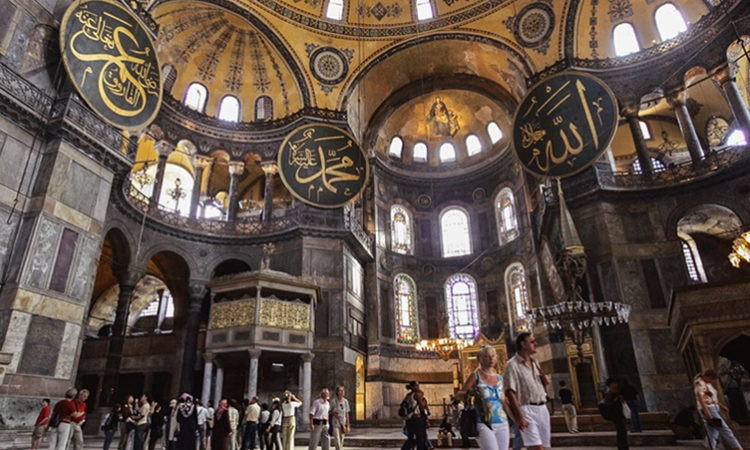 The Hagia Sophia in Istanbul is among the historic treasures that students at Binghamton University study as part of an Ottoman and Turkish program. (© AP Images)