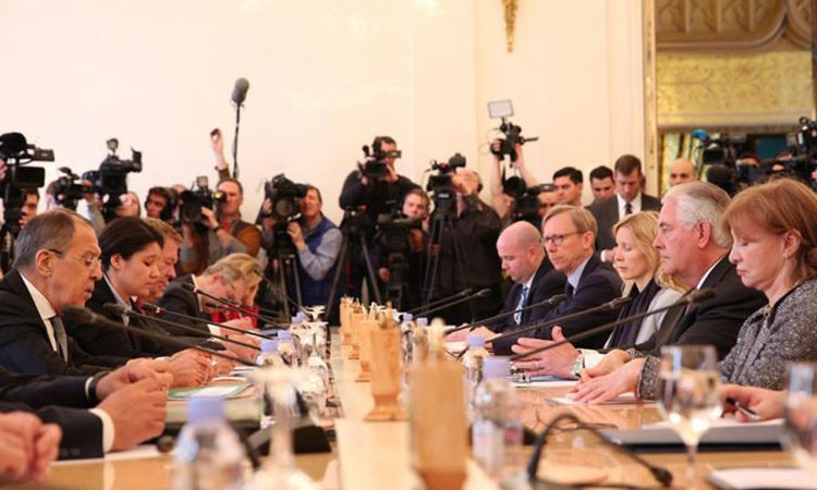 Russian Foreign Minister Lavrov gives opening remarks ahead of a bilateral meeting with U.S. Secretary of State Rex Tillerson and his delegation in Moscow, Russia, on April 12, 2017.