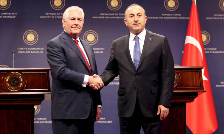 U.S. Secretary of State Rex Tillerson and Turkish Foreign Minister Mevlut Cavusoglu shake hands after their joint press conference at the Ministry of Foreign Affairs in Ankara, Turkey, on March 30, 2017. [State Department photo/ Public Domain]
