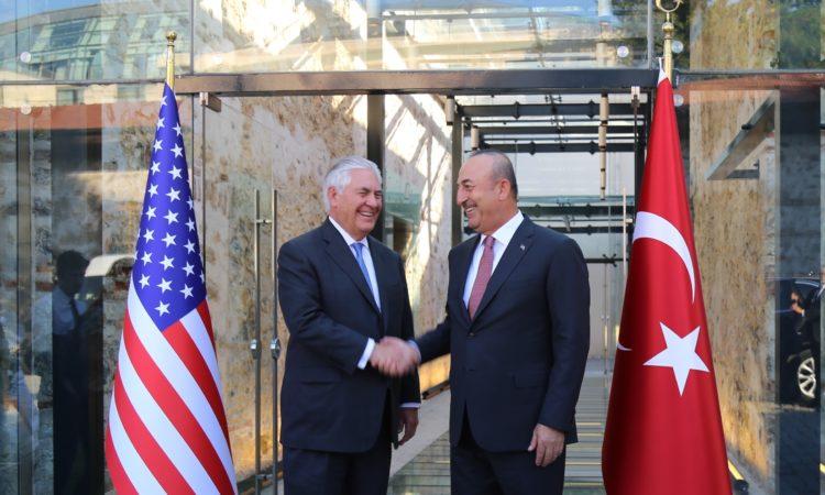 Secretary Tillerson greeted by Turkish Foreign Minister Mevlut Çavuşoğlu