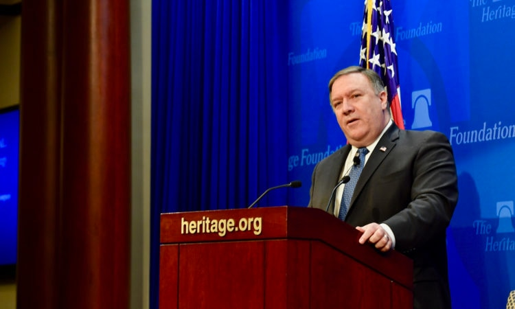 "U.S. Secretary of State Mike Pompeo delivers a speech, ""After the Deal: A New Iran Strategy"", at the Heritage Foundation, in Washington, D.C, on May 21, 2018."