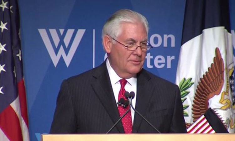 Secretary of State Rex Tillerson delivers remarks on U.S.-European relations, at The Wilson Center in Washington, DC.