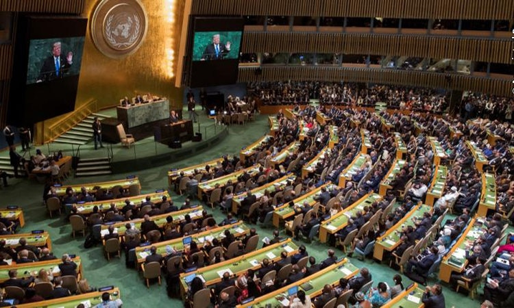 U.S. President Donald Trump speaks during the 72nd session of the United Nations General Assembly at UN headquarters.