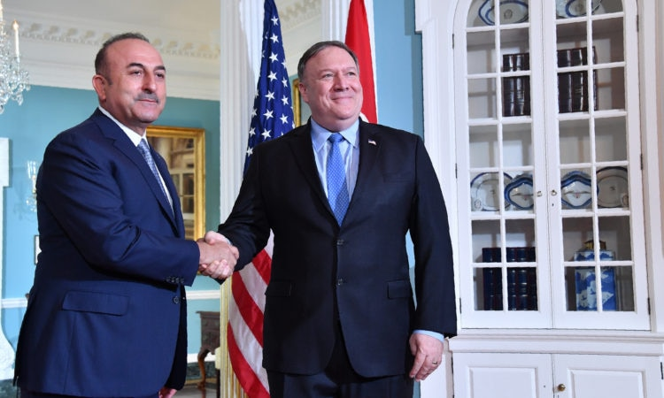 Secretary Michael R. Pompeo meets with Turkish Foreign Minister Meylut Cavusoglu, at the Department of State in Washington, D.C. on November 20, 2018.
